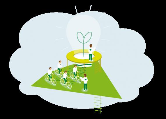 Eine bunte Illustration mit einer großen Glühbirne, die von vielen kleinen Mitarbeiter durch Fahrrädern zum leuchten gebracht wird. Diese sitzen auf einer grünen dreickeckigen Fläche.