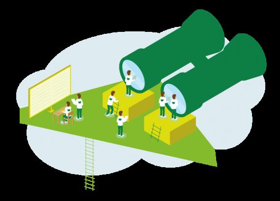 Diese Illustration findet noch mal auf einer grünen Fläche statt. Ein übergroßes Fernglas dient den Mitarbeitern dazu Ausschau auf die Entwicklungen der Projekt und des Marktes zu halten. Weitere Mitarbeiter schreiben die Daten auf und bringen diese zu zwei weiteren Mitarbeiten, die an einem großen Monitor die Daten analysieren und auswerten.