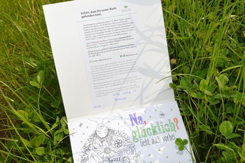 Das Fundbuch »Vollpfosten« wurde ausgesetzt und gehört zu unserer Bücheraktion 15 Jahre phase grün