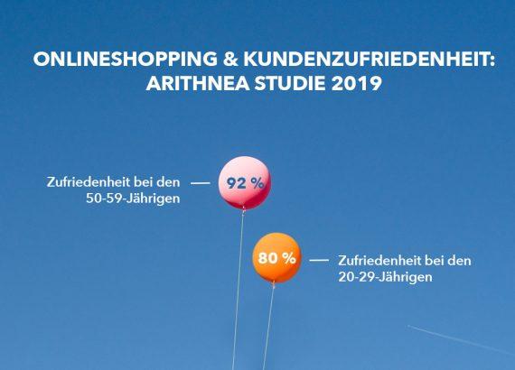 """Das Bild zeigt einen roten und einen orangenen Ballon. Im Hintergrund sieht man einen blauen Himmel. Oben im Bild ist der Titel """"Onlineshopping & Kundenzufriedenheit: ARITHNEA Studie 2019"""" zu lesen. Der rote Ballon befindet sich links von dem orangenen und fliegt etwas höher."""