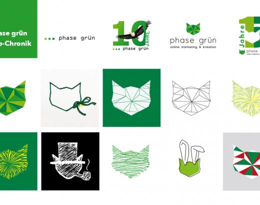Auf dem Foto sind vielen verschiedene Logos und Katzenkopf-Icons zu sehen. Mal in geometrischer Form, gescribbel, weiche Formen die ein Feuerwerk mit Katzenkopf bilden. Das zeigt die phase grün Logo-Chronik.