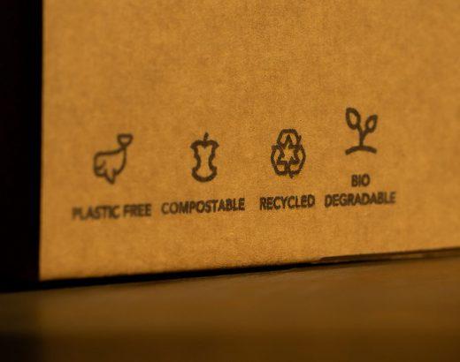 Trend Nachhaltigkeit – Ein nachhaltiger Karton mit vier Symbolen, die beschreiben, dass der Karton plastikfrei, kompostierbar, recycelt werden kann und biologisch abbaubar